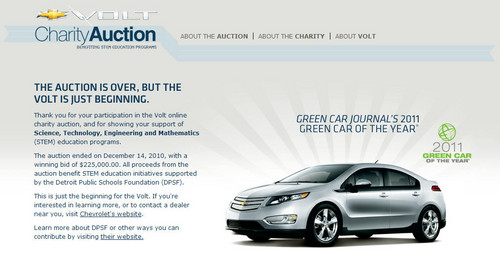 Chevrolet Volt Charity Auction Closed At 225 000