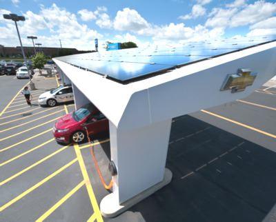 Solar Powered Charging Stations At Chevrolet Dealerships volt solar 2
