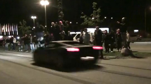 jump over lambo at Man Jumps Over Speeding Lamborghini   Video