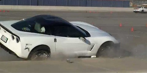 curb crash corvette at Corvette Crashes Spectacularly During Autocross
