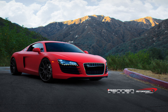 matte red audi r8 by rennen forged. Black Bedroom Furniture Sets. Home Design Ideas