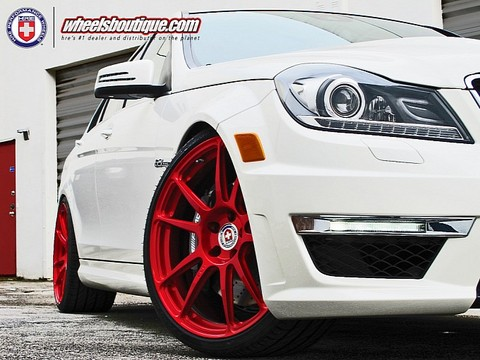 C63 with Red HRE Wheels 1 Mercedes C63 with Red HRE Wheels