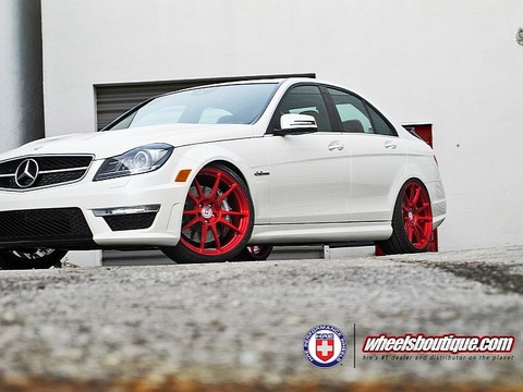 C63 with Red HRE Wheels 2 Mercedes C63 with Red HRE Wheels