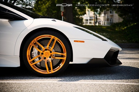 Murcielago LP670 4 PUR Gold 5 Rose Gold PUR Wheels On Lamborghini Murcielago LP670