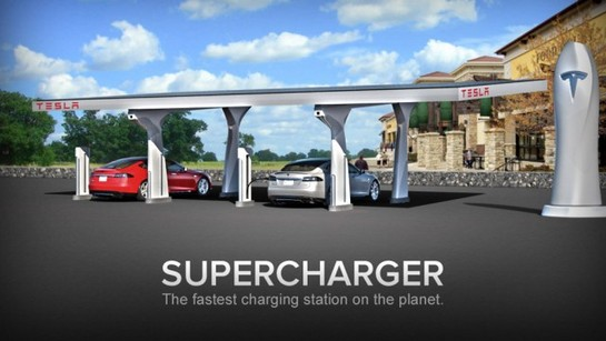 tesla supercharger fast charging system at Elon Musk Explains Tesla Supercharger Charging Station