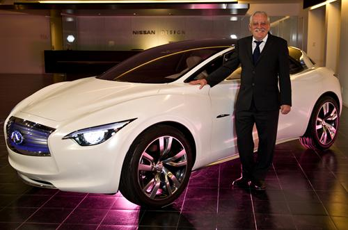 Colin Dodge with the Infiniti Etherea at Nissans UK Production Plant To Make Infiniti Cars