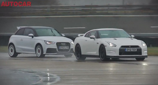 audi a1 vs gtr at Autocar Puts Audi A1 Quattro Against Nissan GT R   Video