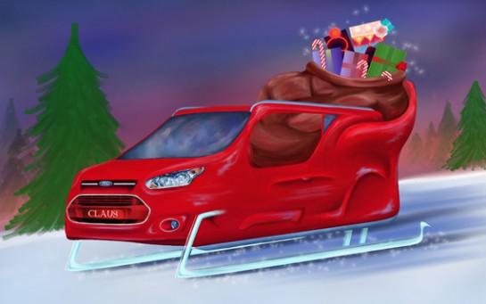 santasleigh large 545x341 at Ford Designs a Transit Wagon Sleigh for Santa
