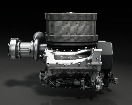 2014 Mercedes Formula 1 V6 engine 2 545x436 at 2014 Mercedes V6 Turbo Formula 1 Engine Previewed