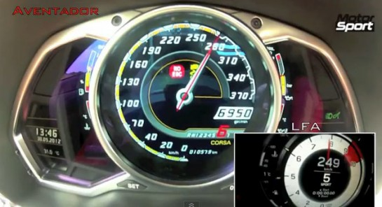 Aventador vs Lfa 545x296 at Drag Race: Lexus LFA vs Lamborghini Aventador