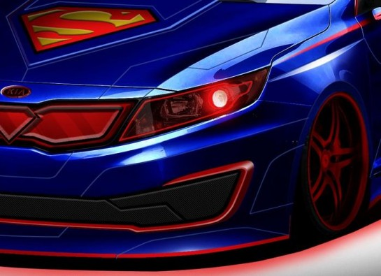 Superman Themed Optima 545x395 at Superman Themed Kia Optima Teased for Chicago Show