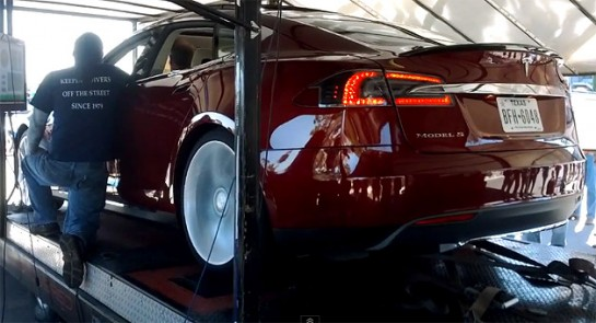 Tesla Model S Dyno Test 545x295 at Tesla Model S Dynod at 386 Wheel Horsepower