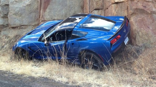 Corvette Crash 545x306 at Scooped: First Crashed Corvette Stingray!