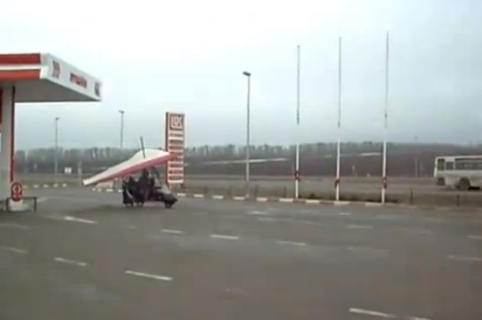 Flying Trike at Flying Trike Fills Up at Gas Station, Then Takes Off!