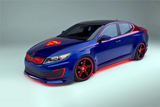 Superman themed Kia Optima 2 545x363 at Superman Kia Optima Hybrid Design Explained   Video