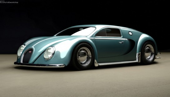 Veyron Beetle1 545x311 at Rendering: Beetle inspired Bugatti Veyron