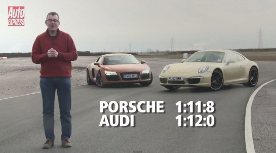 audi r8 vs porsche 911 545x302 at Track Test: Audi R8 V8 vs Porsche 911 C4S