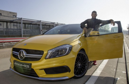 Usher at AMG 1 545x357 at Usher visits Affalterbach, drives Mercedes A45 AMG