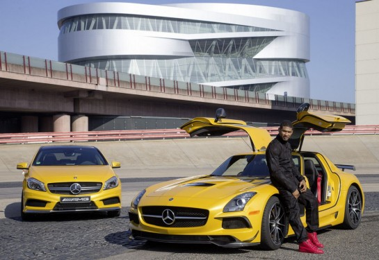Usher at AMG 2 545x375 at Usher visits Affalterbach, drives Mercedes A45 AMG