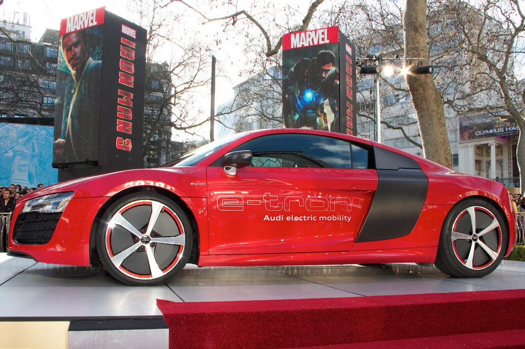 audi r8 e tron at iron man 3 screening in london. Black Bedroom Furniture Sets. Home Design Ideas