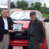 Floyd Pullin with Truck 175x175 at 102 Year Old Man Named Honorary Ford Trucks President!