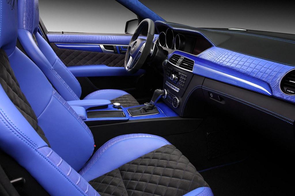 topcar blue crocodile interior for mercedes c63 amg. Black Bedroom Furniture Sets. Home Design Ideas