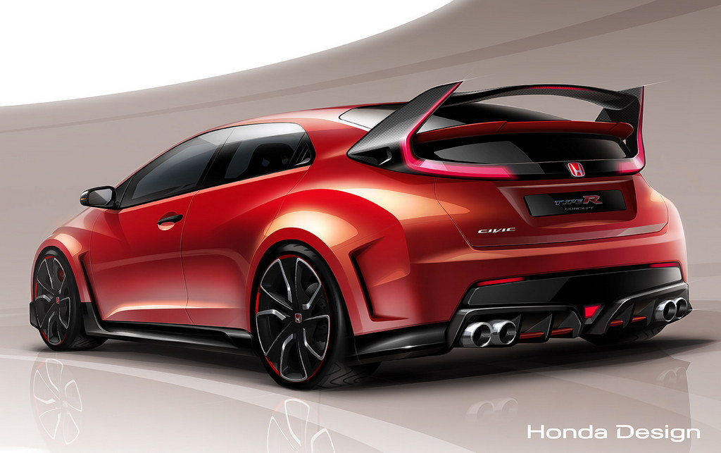 new honda civic type r concept teased in official sketch. Black Bedroom Furniture Sets. Home Design Ideas