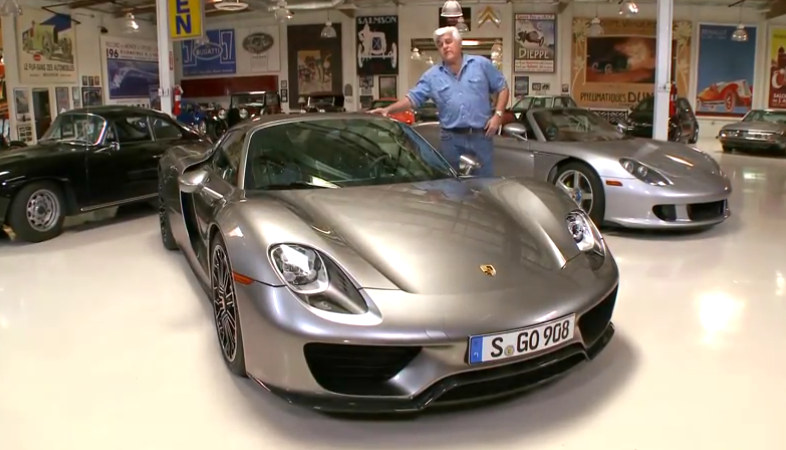 porsche 918 at jay leno 39 s garage detailed tour and test drive. Black Bedroom Furniture Sets. Home Design Ideas