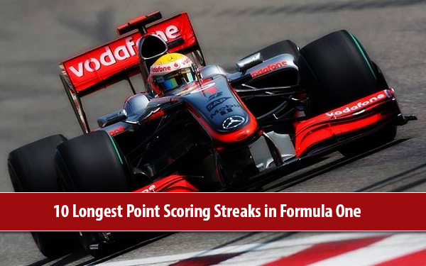 Formula One at 10 Longest Point Scoring Streaks in Formula One