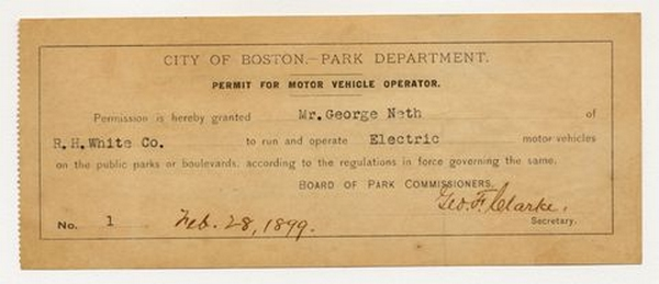 Boston license 1899 at The History of the Driver's License