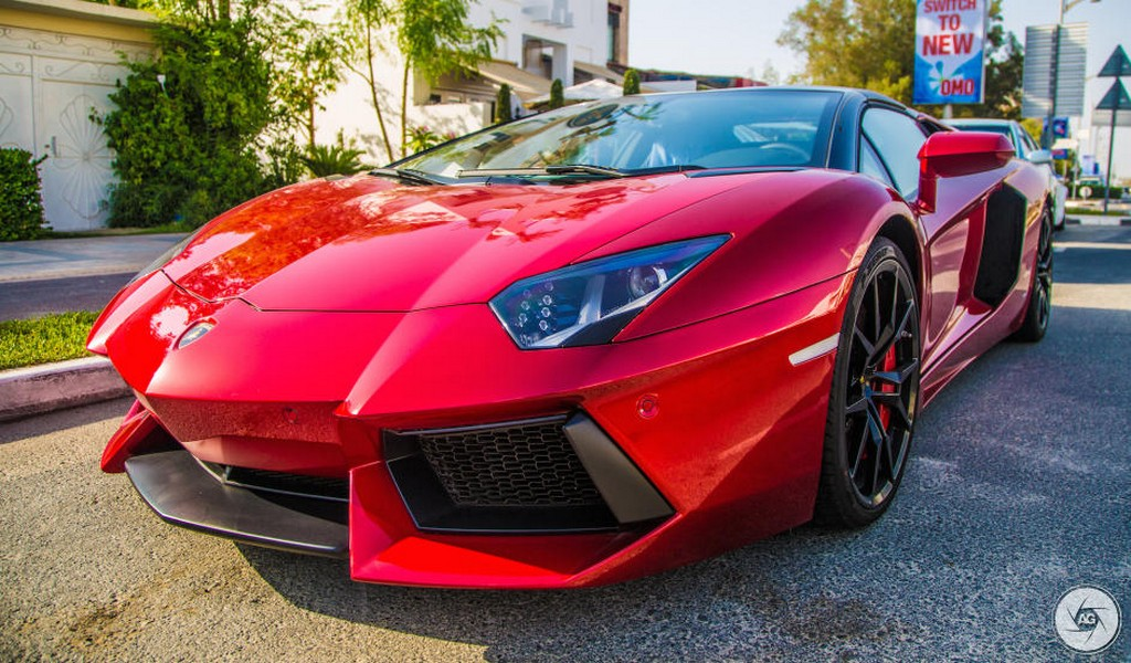 Shimmering Beauty Candy Red Lamborghini Aventador Roadster