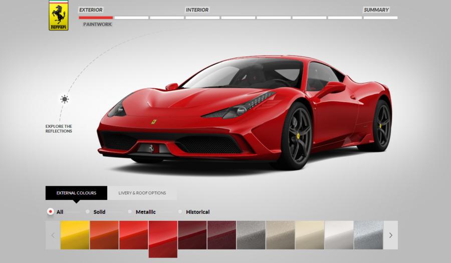 ferrari 458 speciale configurator new track footage. Black Bedroom Furniture Sets. Home Design Ideas