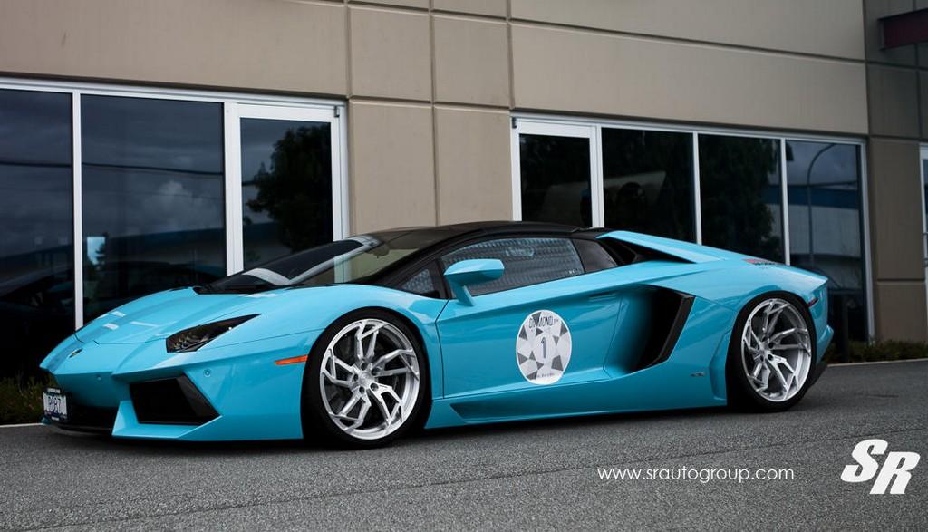 baby blue lamborghini aventador roadster by sr auto. Black Bedroom Furniture Sets. Home Design Ideas