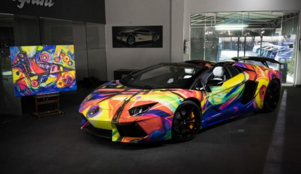 Lamborghini Aventador Art Car 1 600x347 at Lamborghini Aventador Art Car by Lamborghini Miami