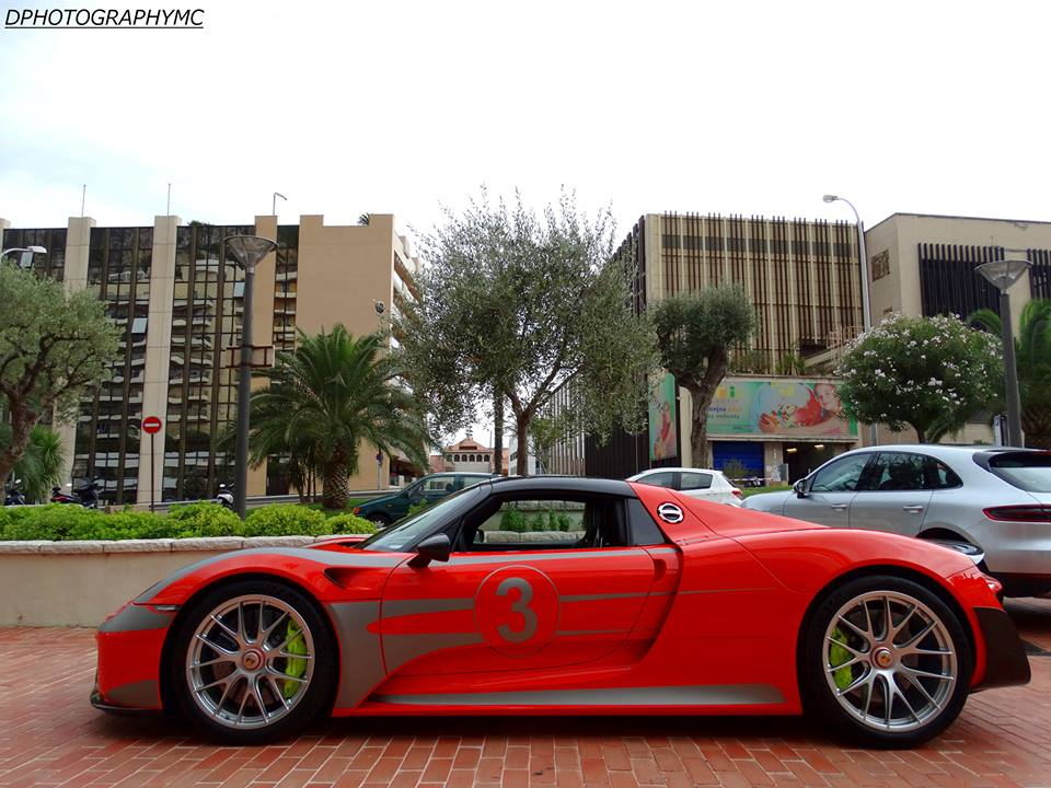 red porsche 918 weissach out and about in monaco. Black Bedroom Furniture Sets. Home Design Ideas