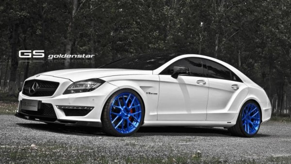 blue wheeled cls 0 600x339 at Blue Wheeled Mercedes CLS63 AMG by Golden Star