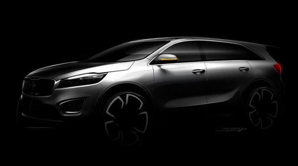 sorento sketch 1 600x335 at 2015 Kia Sorento Previewed in Official Sketches