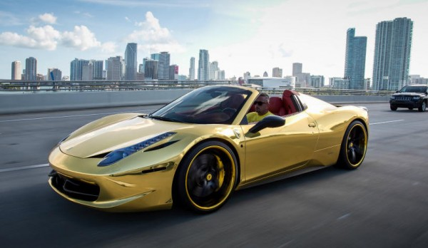 Robinson Cano Gold Ferrari 458 0 600x348 at Robinson Cano's Gold Ferrari 458 by MC Customs