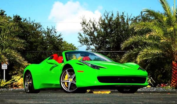 lime green 458 1 600x355 at Metro Wrapz Lime Green Ferrari 458 Looks Yummy!