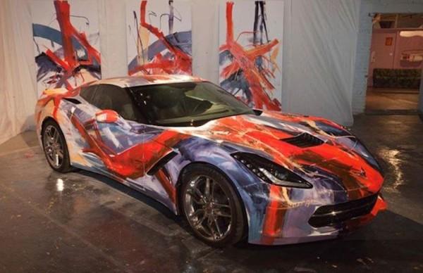 Corvette Stingray art car 600x388 at Corvette Stingray Art Car Painted Live at MOCAD