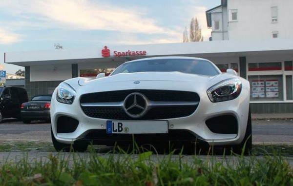 White Mercedes AMG GT 0 600x381 at White Mercedes AMG GT Spotted with Bits Missing