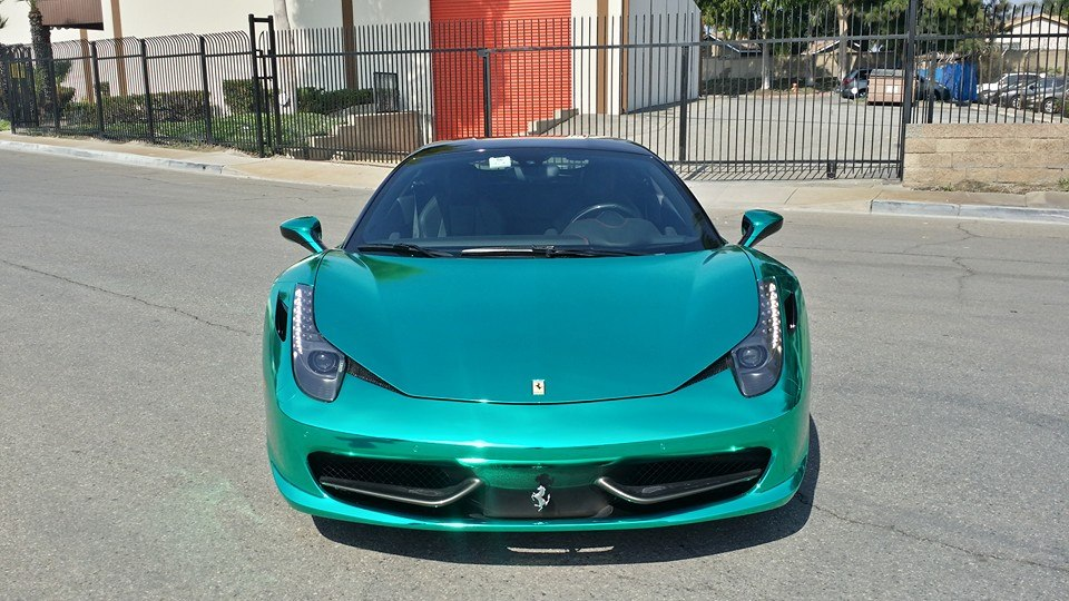 Shiny Turquoise Chrome Ferrari 458