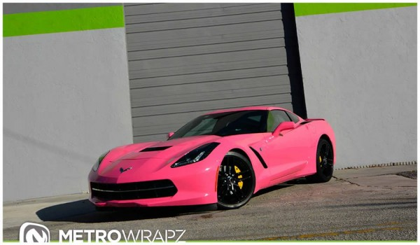 Paris Hilton Pink Corvette 3 600x350 at Paris Hilton's Gloss Pink Corvette by Metro Wrapz