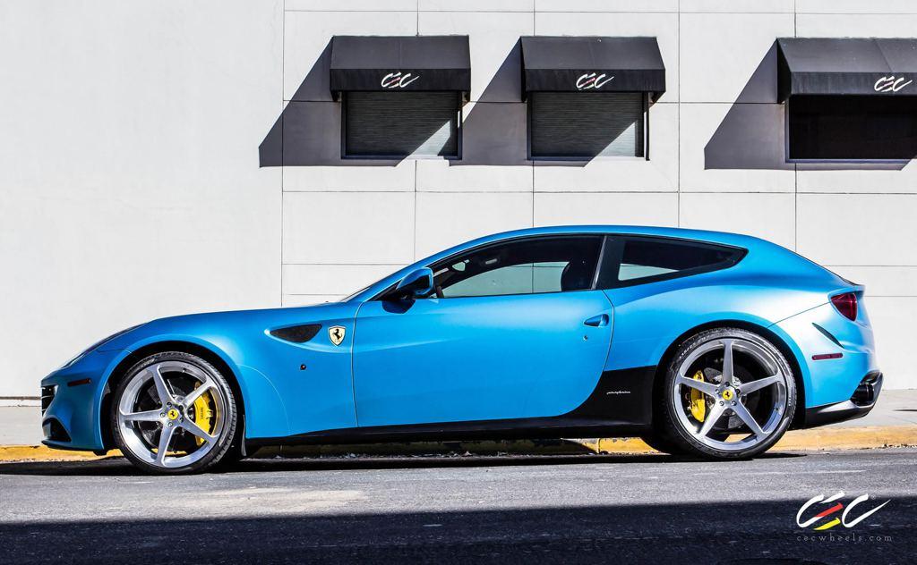 spotlight  matte blue ferrari ff on cec wheels