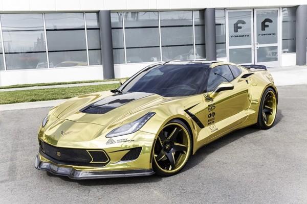 Golden Corvette Stingray-Forgiato-0