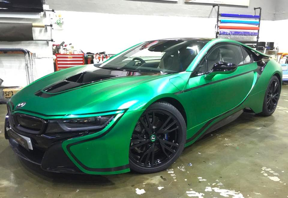 Green Chrome BMW I8 0 600x412 At Matte Green Chrome BMW I8 By Impressive  Wrap
