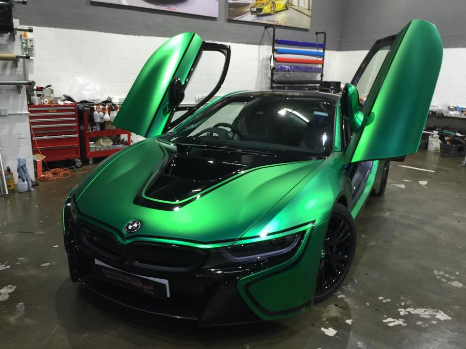 Matte Green Chrome Bmw I8 By Impressive Wrap
