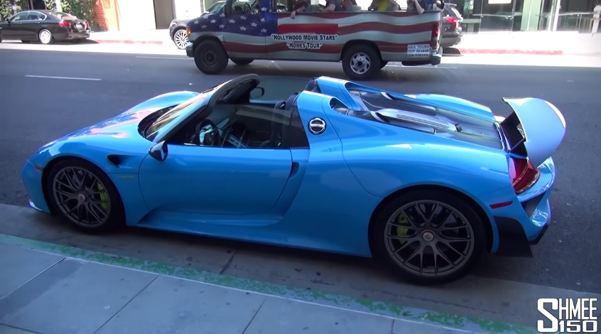 up close with baby blue porsche 918 spyder. Black Bedroom Furniture Sets. Home Design Ideas