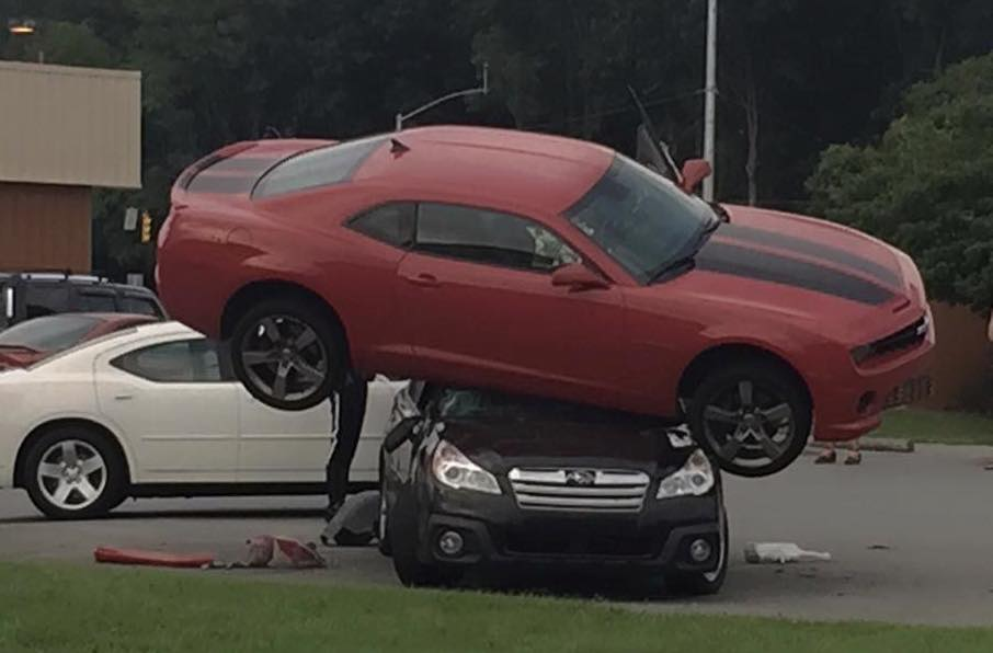 Camaro subaru crash 0 at Camaro Thinks It's a Transformer, Tries to Hump a Subaru!