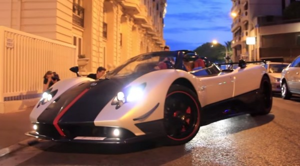 Pagani Zonda Cinque Cannes 600x333 at Pagani Zonda Cinque Spotted in Cannes with Huayra and Enzo